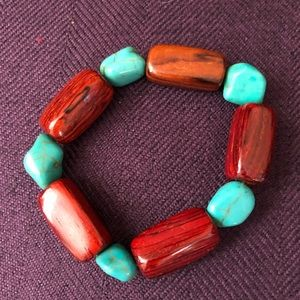 Jewelry - Wood and turquoise bracelet